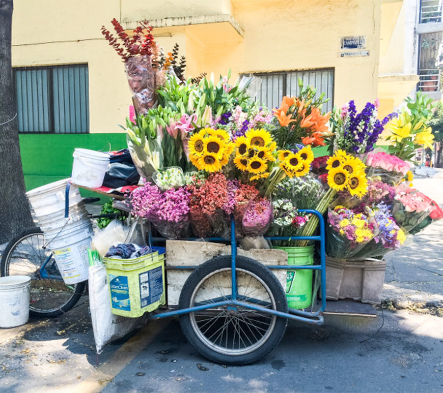 Street vendor tricycle filled with flowers