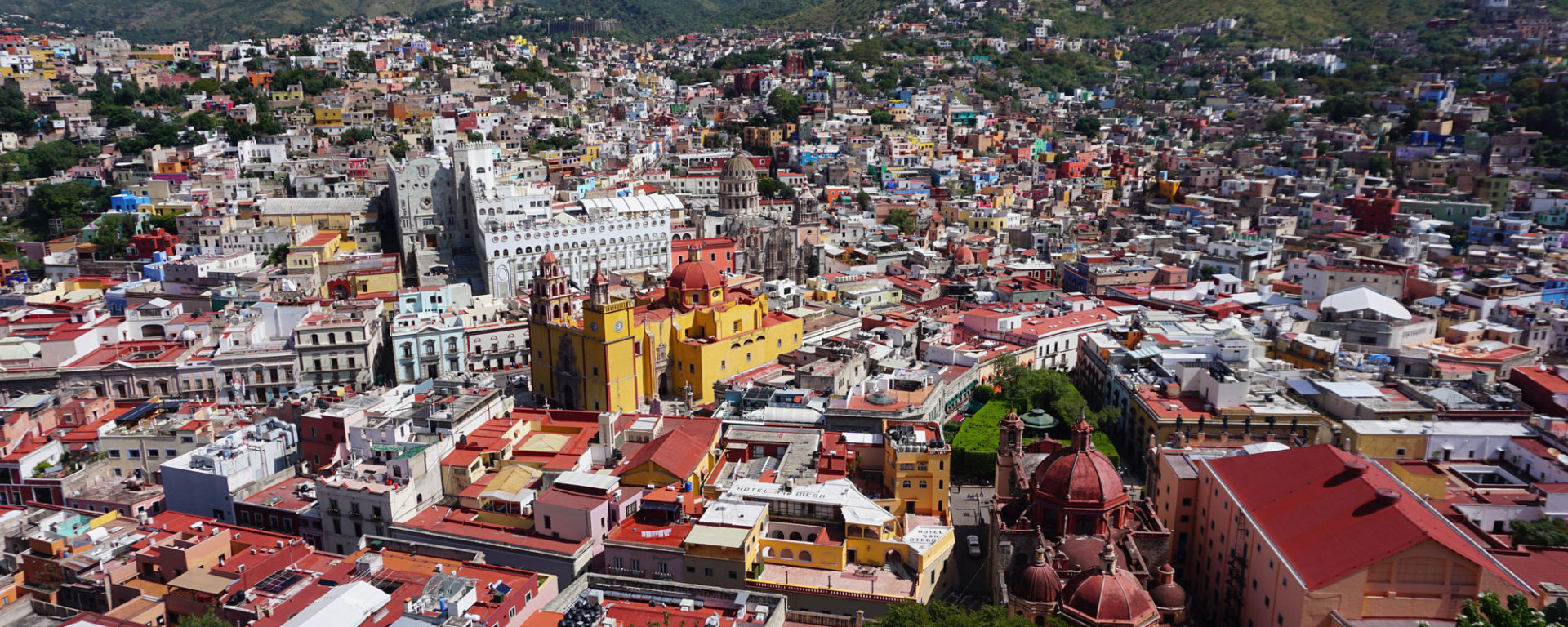Panoramic of Guanajuato collonial buildings home of the Festival Cervantino
